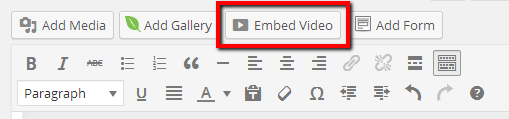 Click Embed Video Button