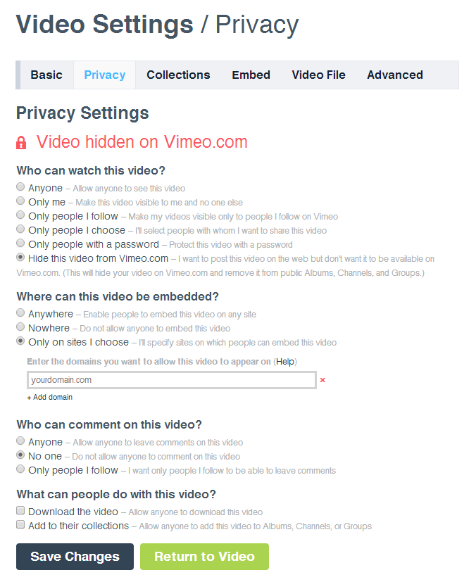 Vimeo Privacy Settings